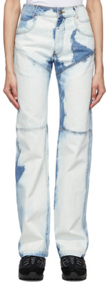 Telfar Blue Bleach Three-Panel Straight-Leg Jeans