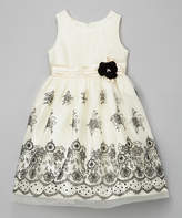 Jayne Copeland Ivory & Black Geometric Floral Flocked Dress - Infant & Girls