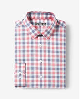 Express modern fit plaid cotton dress shirt
