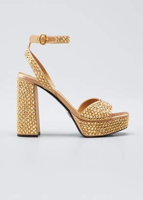 Prada Crystal-Embellished Platform Sandals