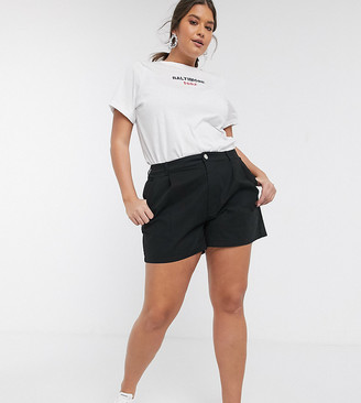 ASOS DESIGN Curve chino short in black