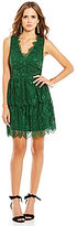 Gianni Bini Bella V-Neck Sleeveless Tiered Lace Dress