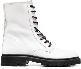 Tommy Jeans Logo Stitching Leather Combat Boots