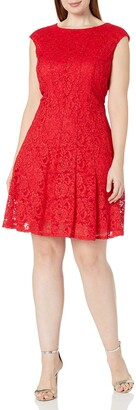 Chetta B Women's Plus Size Cap Sleeve Shimmer Lace Dress