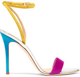 Giuseppe Zanotti Mirrored Leather-trimmed Suede Sandals - Fuchsia