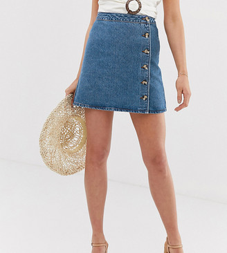 Asos DESIGN Tall denim wrap skirt with buttons in midwash blue