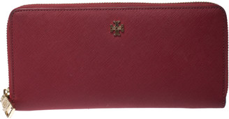 Tory Burch Red Leather Robinson Zip Around Wristlet Wallet