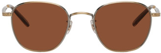 Garrett Leight Gold and Brown World Sunglasses