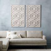 Whitewashed Wood Wall Art - Hexagon