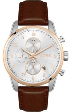 BOSS Men's Chronograph Skymaster Brown Leather Strap Watch 44mm