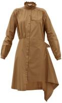 Preen Line Nina Asymmetric Cotton-poplin Dress - Womens - Khaki