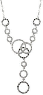 Luxiro Sterling Silver Cubic Zirconia Linked Circle Y Statement Necklace