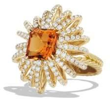 David Yurman Starburst Ring With Diamonds And Madiera Citrine In 18K