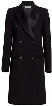 Victoria Beckham Double Breasted Tuxedo Wool Coat