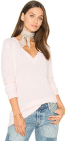 White + Warren Side Slit V Neck Sweater in Pink. - size L (also in )