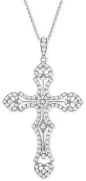 """Macy's Diamond Cross 18"""" Pendant Necklace (1 ct. t.w.) in Sterling Silver"""