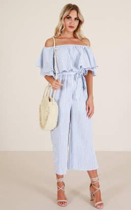 Showpo Keeping It Real jumpsuit in blue stripe - 6 (XS) Sale Jumpsuits