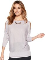 M&Co Metallic knit cold shoulder jumper
