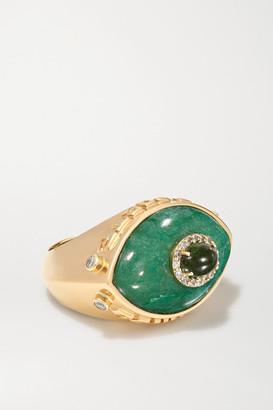 Marlo Laz Eyecon 14-karat Gold Multi-stone Ring - 6