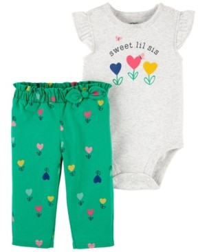 Carter's Baby Girls Little Sister Bodysuit and Pant Set, 2 Pieces