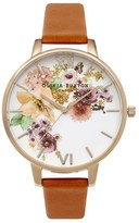 Olivia Burton Women's 'Flower Show' Leather Strap Watch, 38Mm
