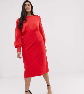Asos DESIGN Curve woven mix midi pencil dress-Red