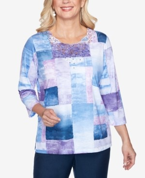 Alfred Dunner Women's Plus Size Wisteria Lane Watercolor Boxes Top