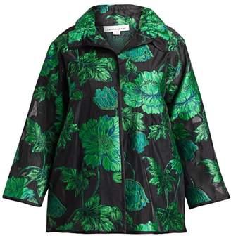 Caroline Rose Caroline Rose, Plus Size Flower Market Devore Ruched Collar Jacket