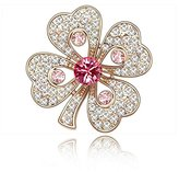Miki&Co Golden Swarovski Elements Women's Crystal Four Clover Flower Brooch, with a Gift Box