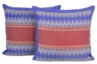 Novica Chiang Rai Sky Brocade Cotton Pillow Cover