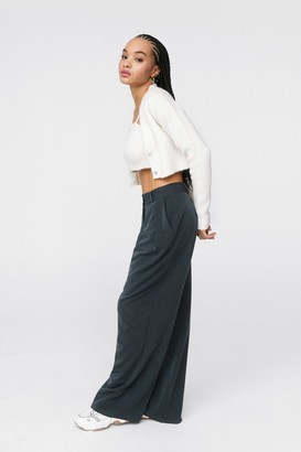 Nasty Gal Womens The Pleat is On High-Waisted Wide-Leg Pants - Grey
