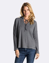 Roxy Womens Lovely Aside Stripe Long Sleeve Hooded T Shirt
