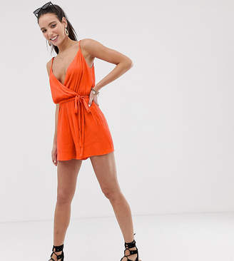 Asos Tall DESIGN Tall cami wrap front crinkle playsuit