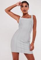 Missguided Silver Bandage Bodycon Mini Dress