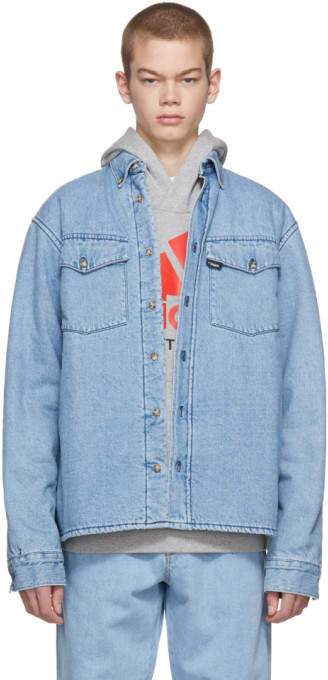 Gosha Rubchinskiy Blue Faux-Fur Denim Shirt