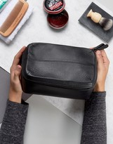 Asos Square Leather Toiletry Bag In Black