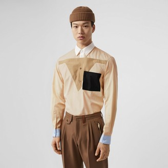 Burberry Classic Fit Pocket Detail Colour Block Cotton Shirt