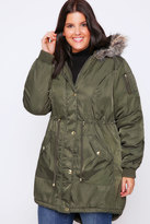Yours Clothing Khaki Bomber Style Parka With Fur Hood