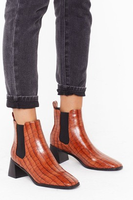 Nasty Gal Womens Ready to Croc Faux Leather Flare Heel Boots - Tan
