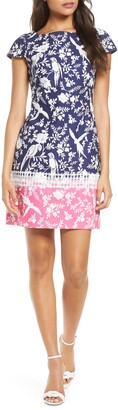Eliza J Border Print Short Sleeve Dress