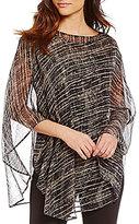 Eileen Fisher Bateau Neck Streaky Plaid Crinkle Silk Poncho