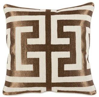 "Kosas Carly Embroidered 22"" Throw Pillow, Copper by Home"