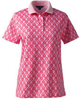 Classic Women's Petite Pima Polo Shirt-White Print