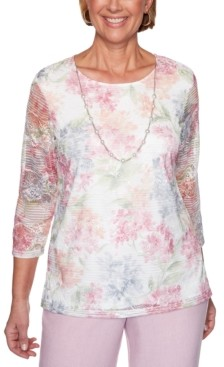 Alfred Dunner Petite Primrose Garden Lace Necklace Top