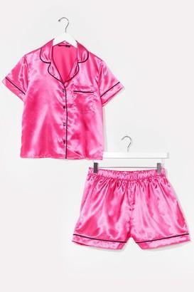 Nasty Gal Womens Straight to Sleek Satin Pajama Shorts Set - Bright Pink