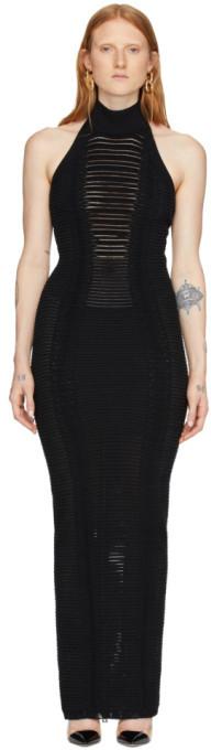 Balmain Black Transparent Stripe Halter Dress