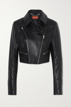 Altuzarra Seijun Cropped Leather Jacket - Black