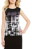Calvin Klein Ombre Plaid Print Pleat Neck Matte Jersey Shell