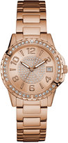 GUESS Women's Crystal Accented Rose Gold-Tone Stainless Steel Bracelet Watch 36mm U0779L3