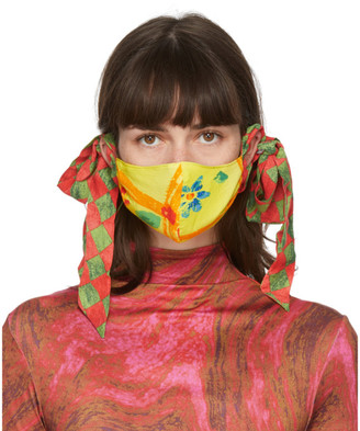 Collina Strada SSENSE Exclusive Yellow and Green Floral Bow Face Mask
